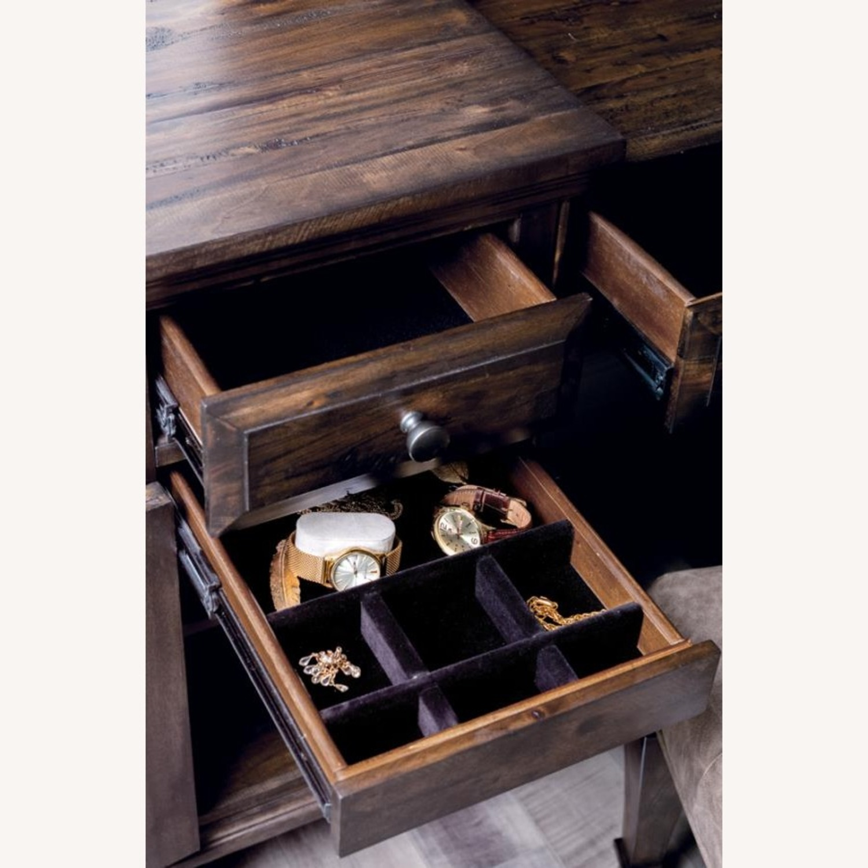 Vanity Desk In Weathered Burnished Brown Finish - image-1