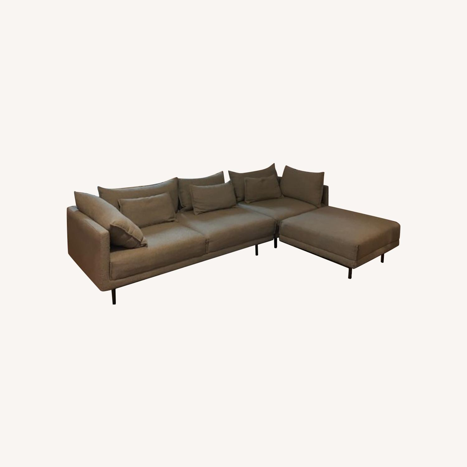 West Elm Mid Century Modern Couch + ottoman - image-0