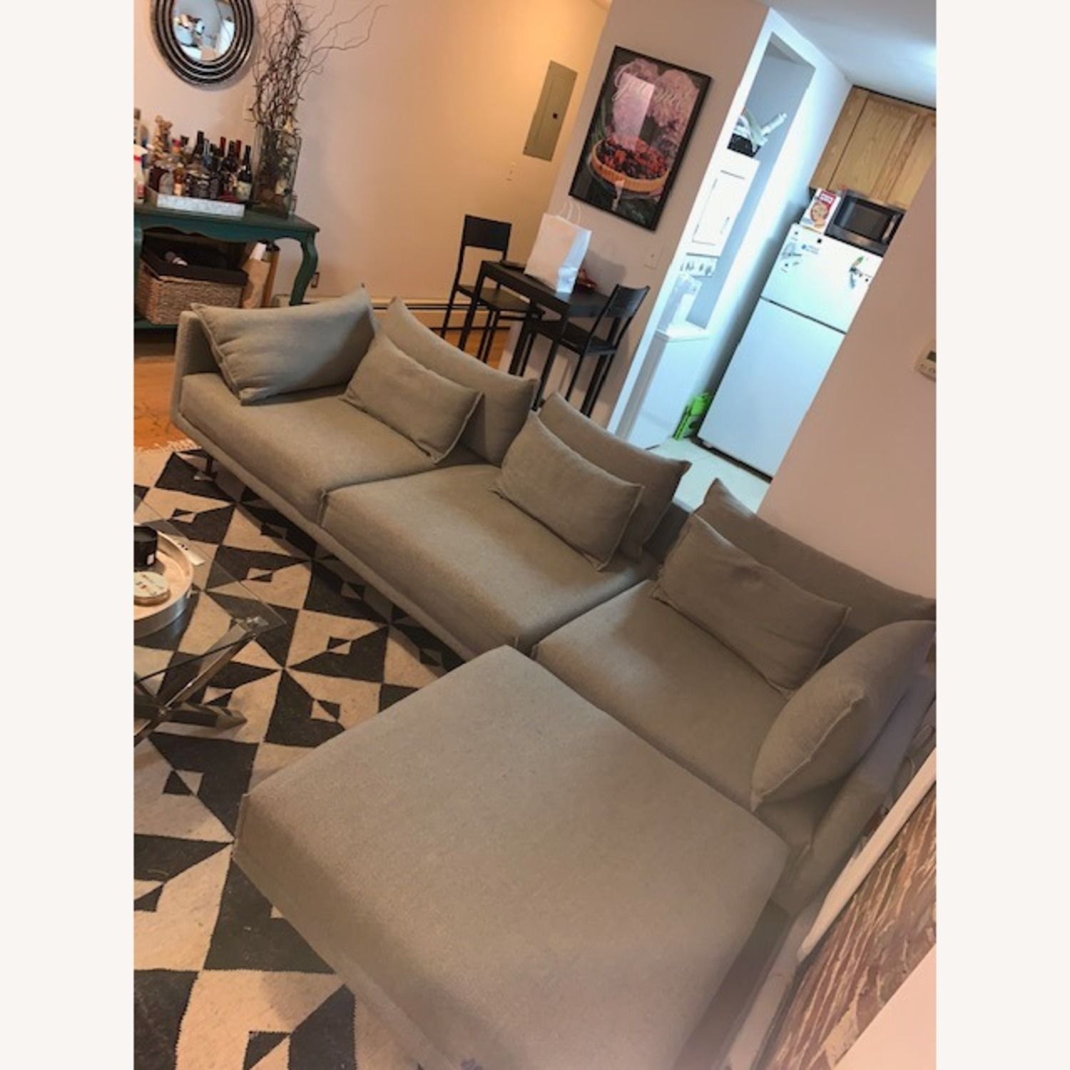 West Elm Mid Century Modern Couch + ottoman - image-3