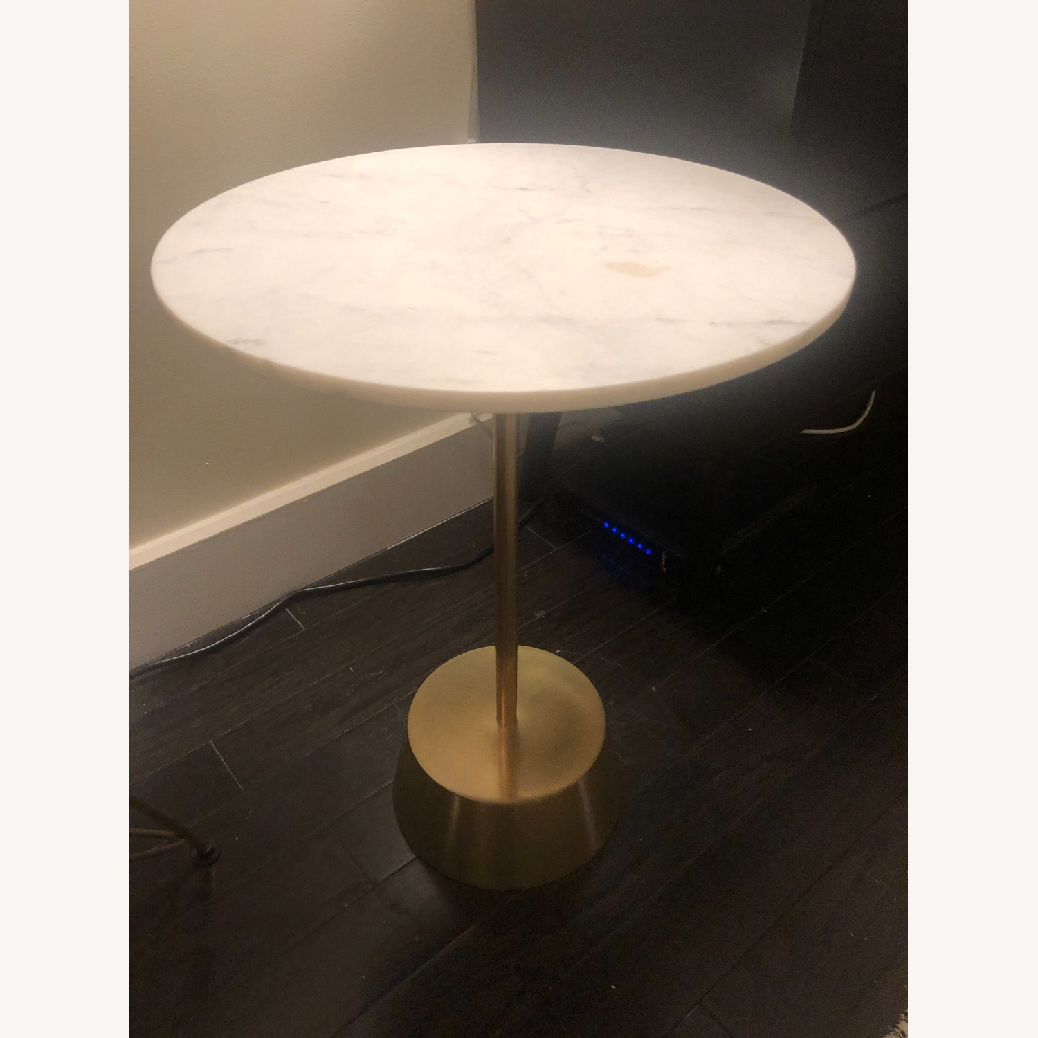 West Elm Marble Antique Brass Side Table Aptdeco