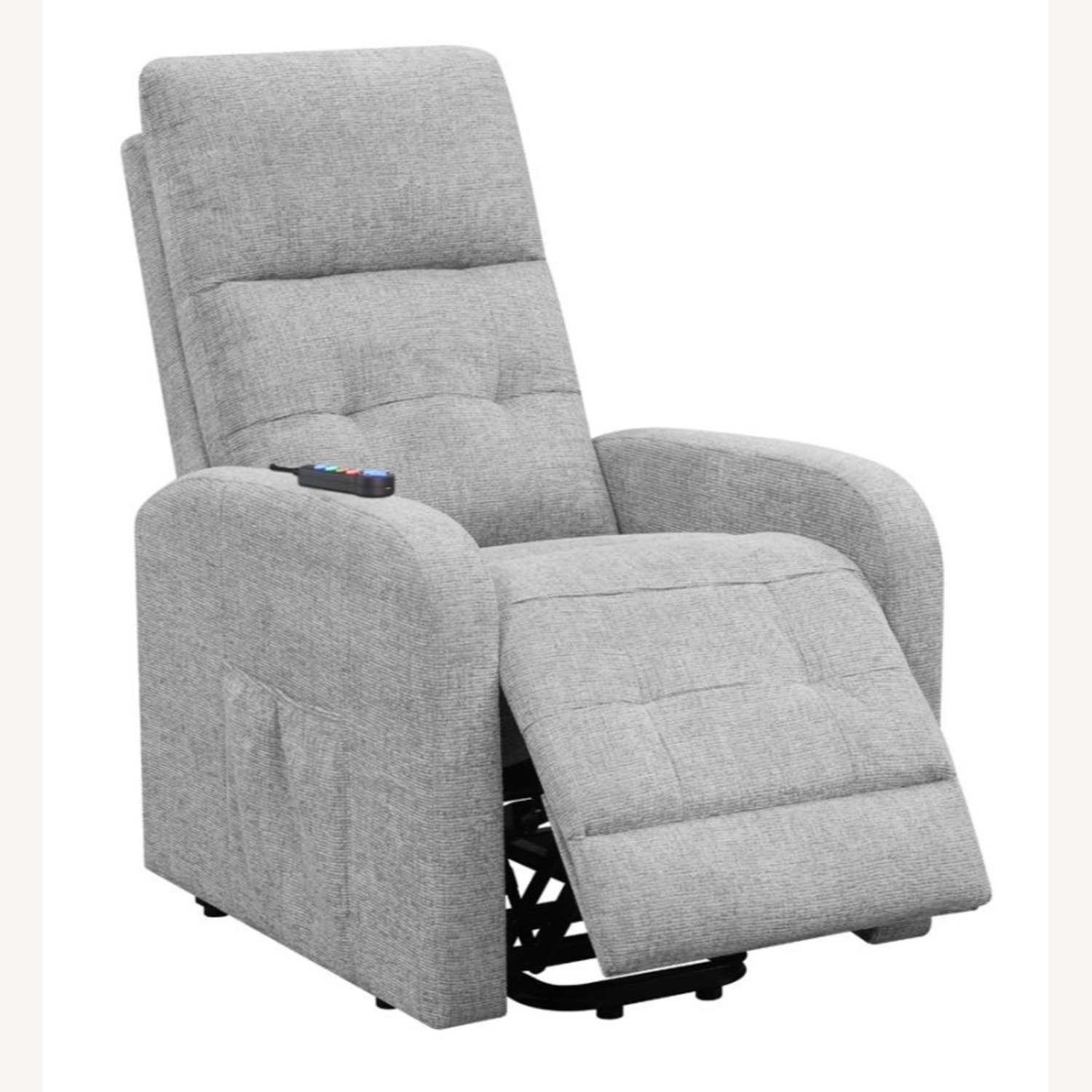Power Lift Massage Chair In Grey Fabric - image-1