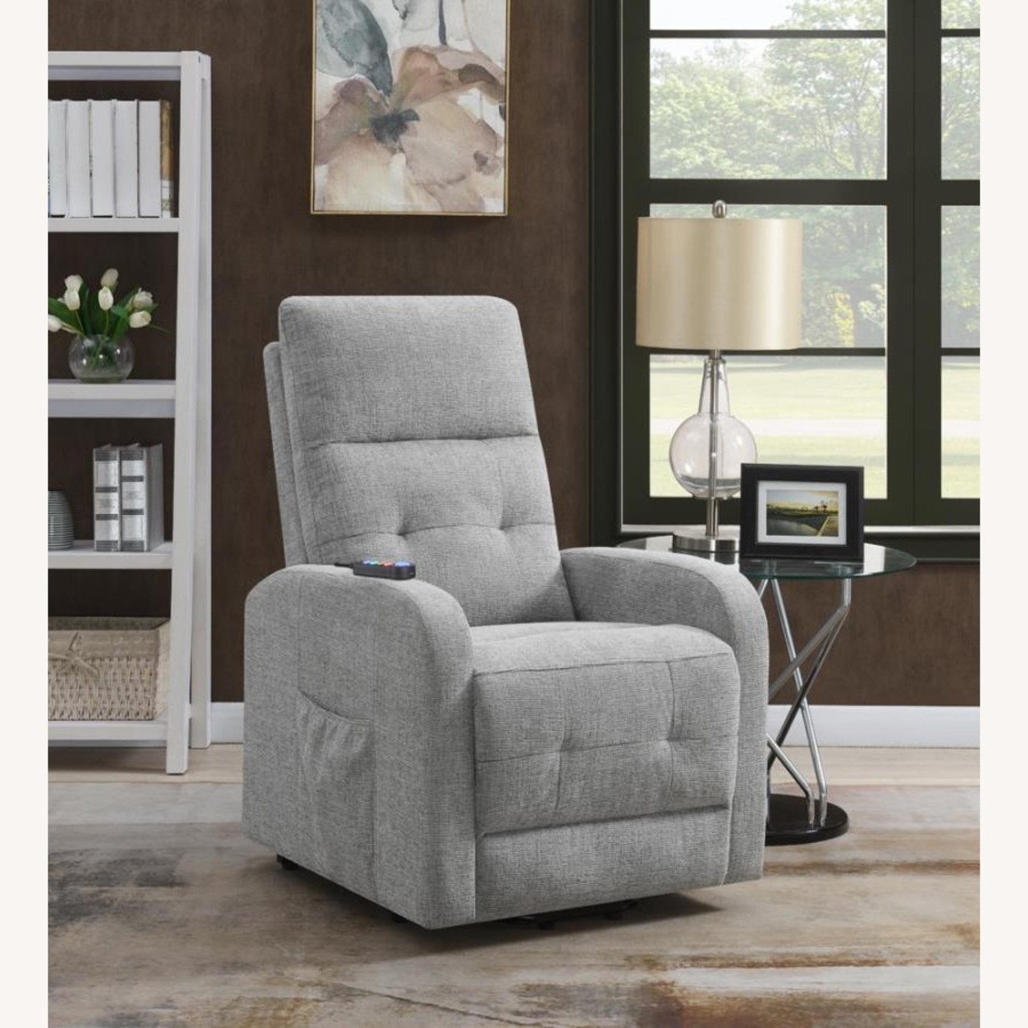 Power Lift Massage Chair In Grey Fabric - image-7