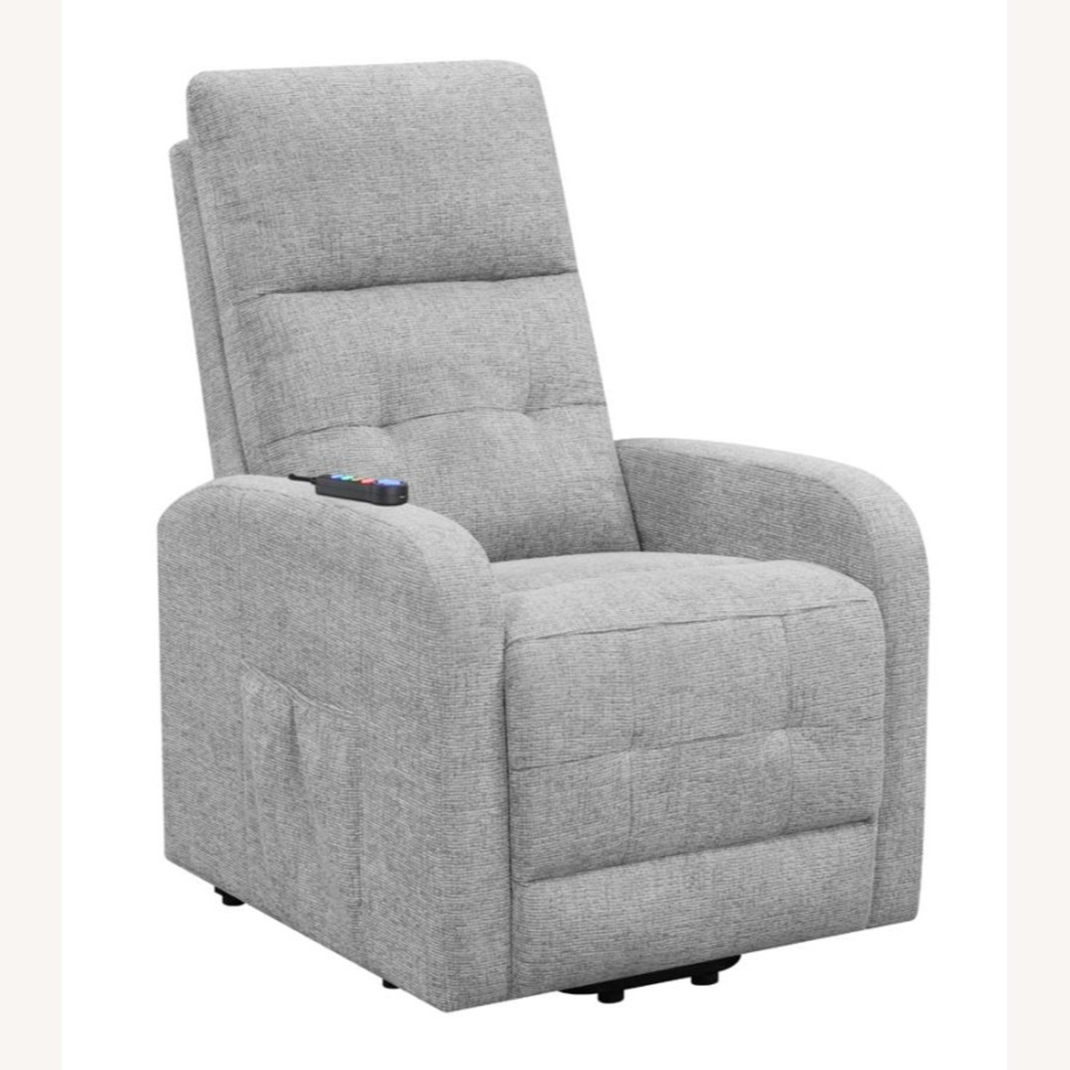 Power Lift Massage Chair In Grey Fabric - image-0