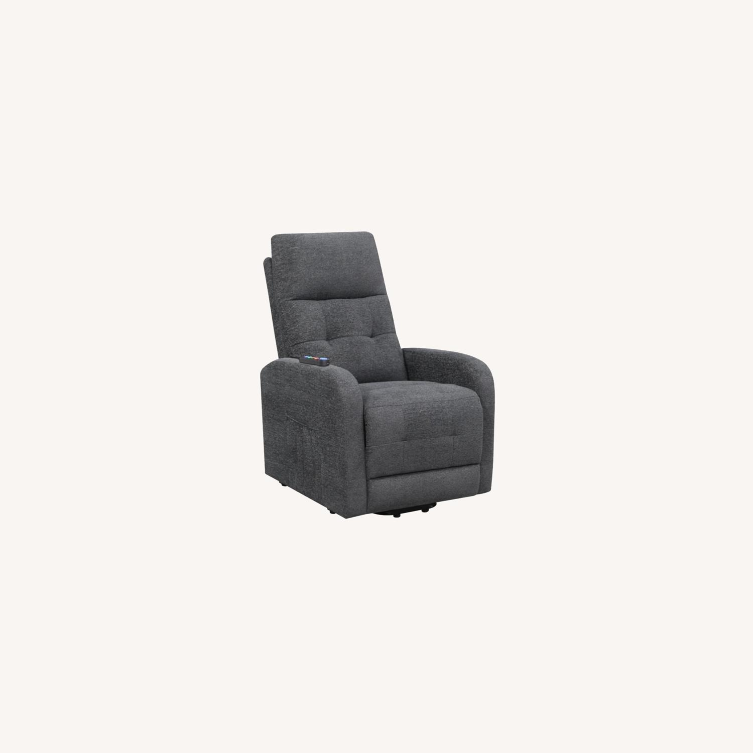 Power Lift Massage Chair In Charcoal Fabric - image-7