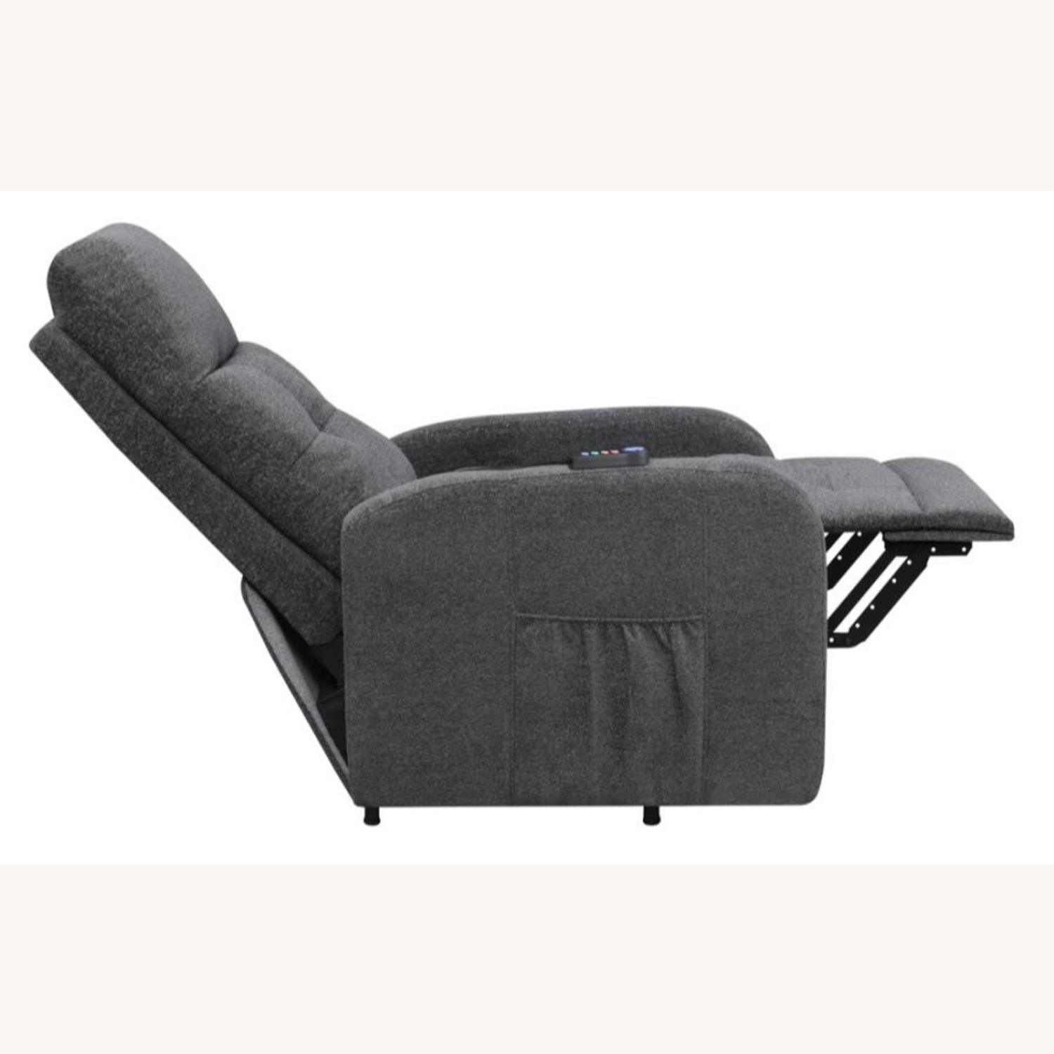Power Lift Massage Chair In Charcoal Fabric - image-3