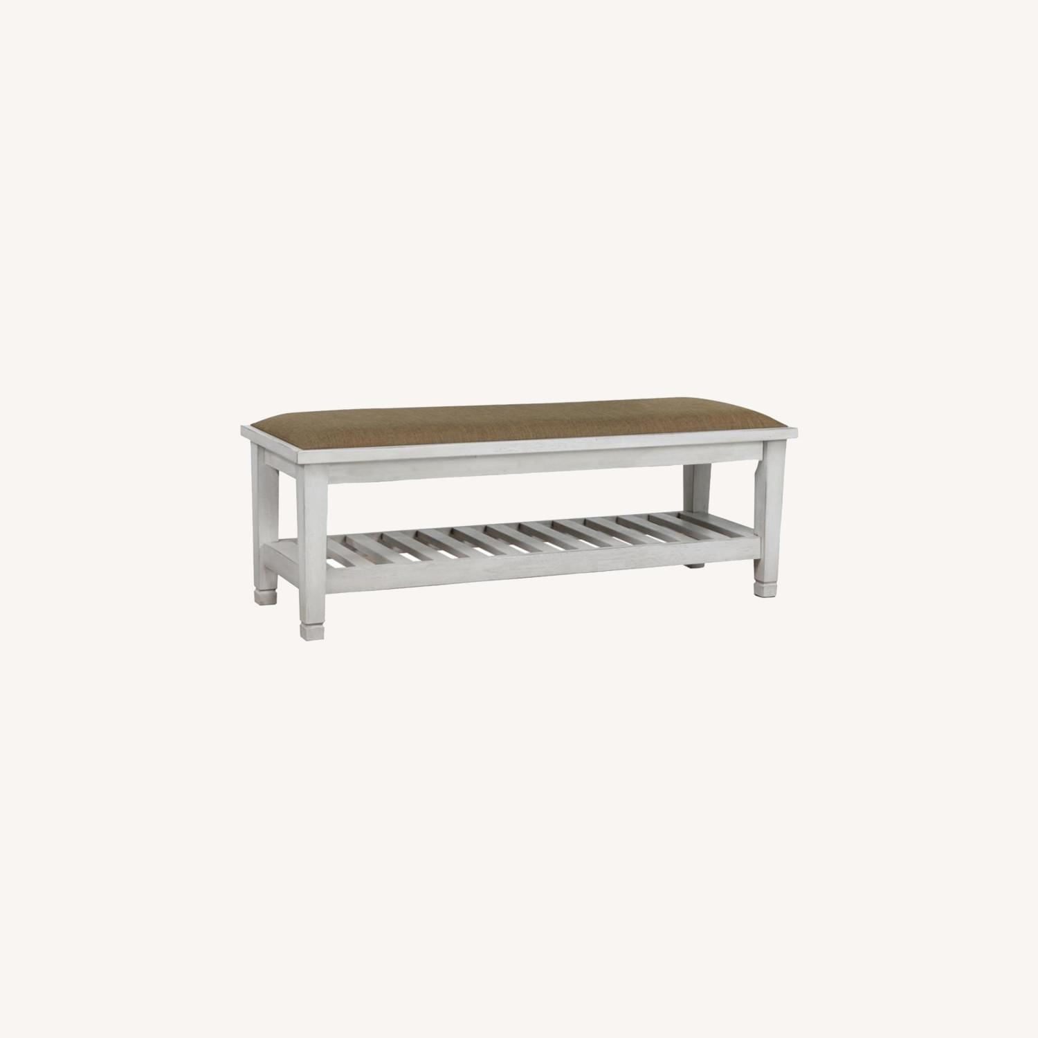 Bench In Antique White Finish W/ Brown Fabric - image-4