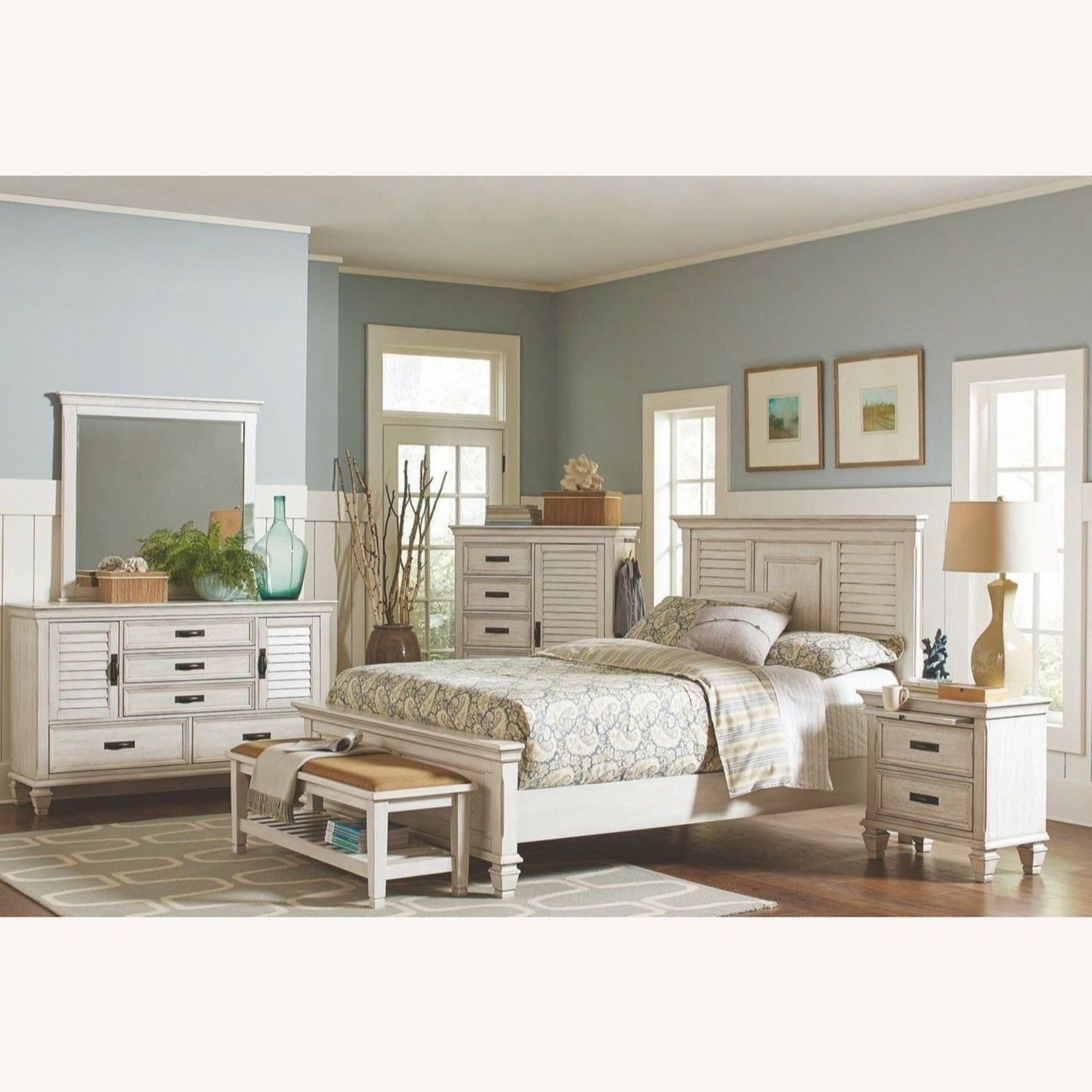 Bench In Antique White Finish W/ Brown Fabric - image-3