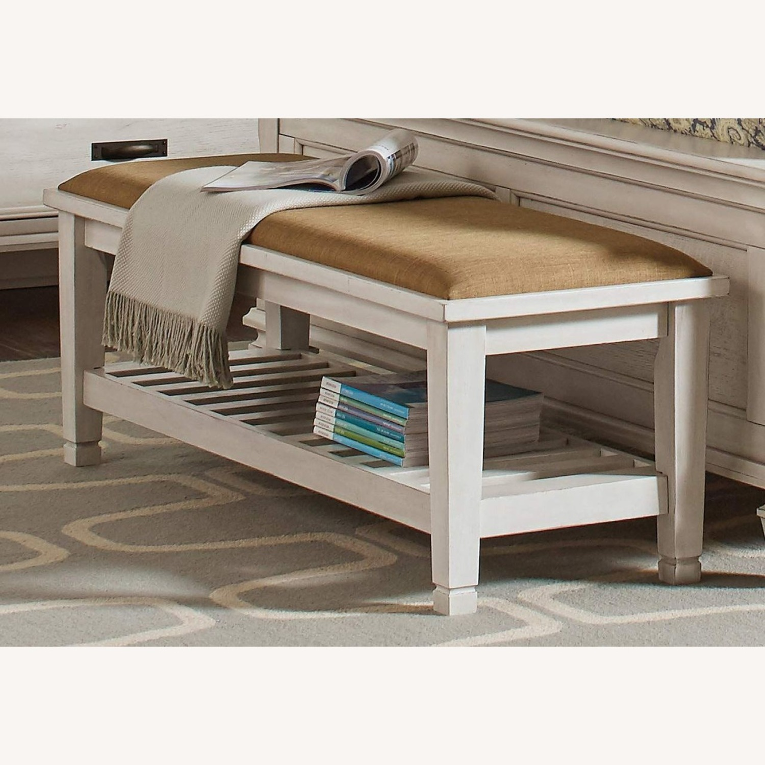 Bench In Antique White Finish W/ Brown Fabric - image-2