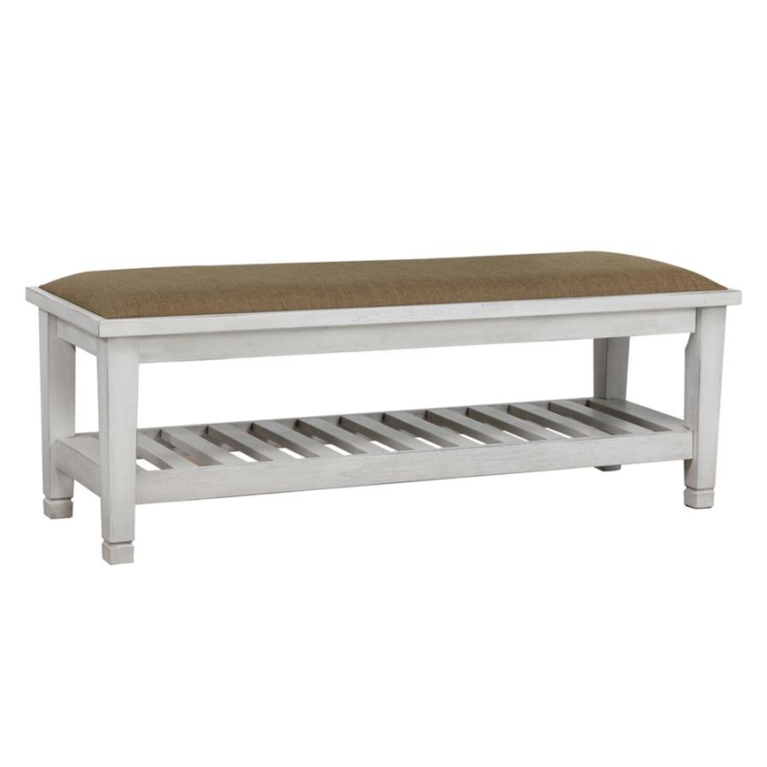 Bench In Antique White Finish W/ Brown Fabric - image-0