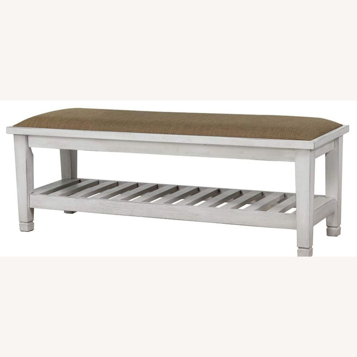 Bench In Antique White Finish W/ Brown Fabric - image-1