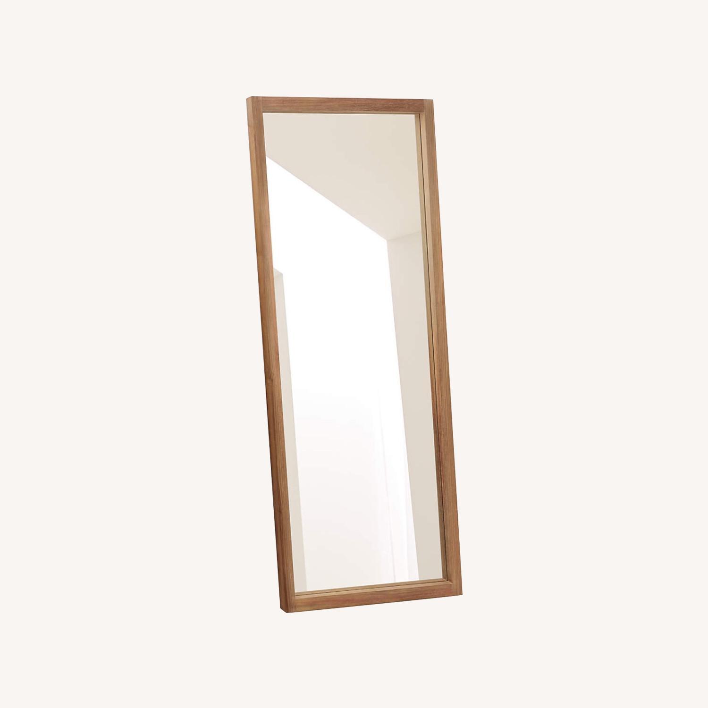 Crate & Barrel Linea Teak Floor Mirror - image-0