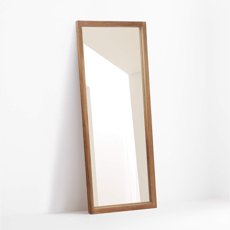 Crate & Barrel Linea Teak Floor Mirror - image-1