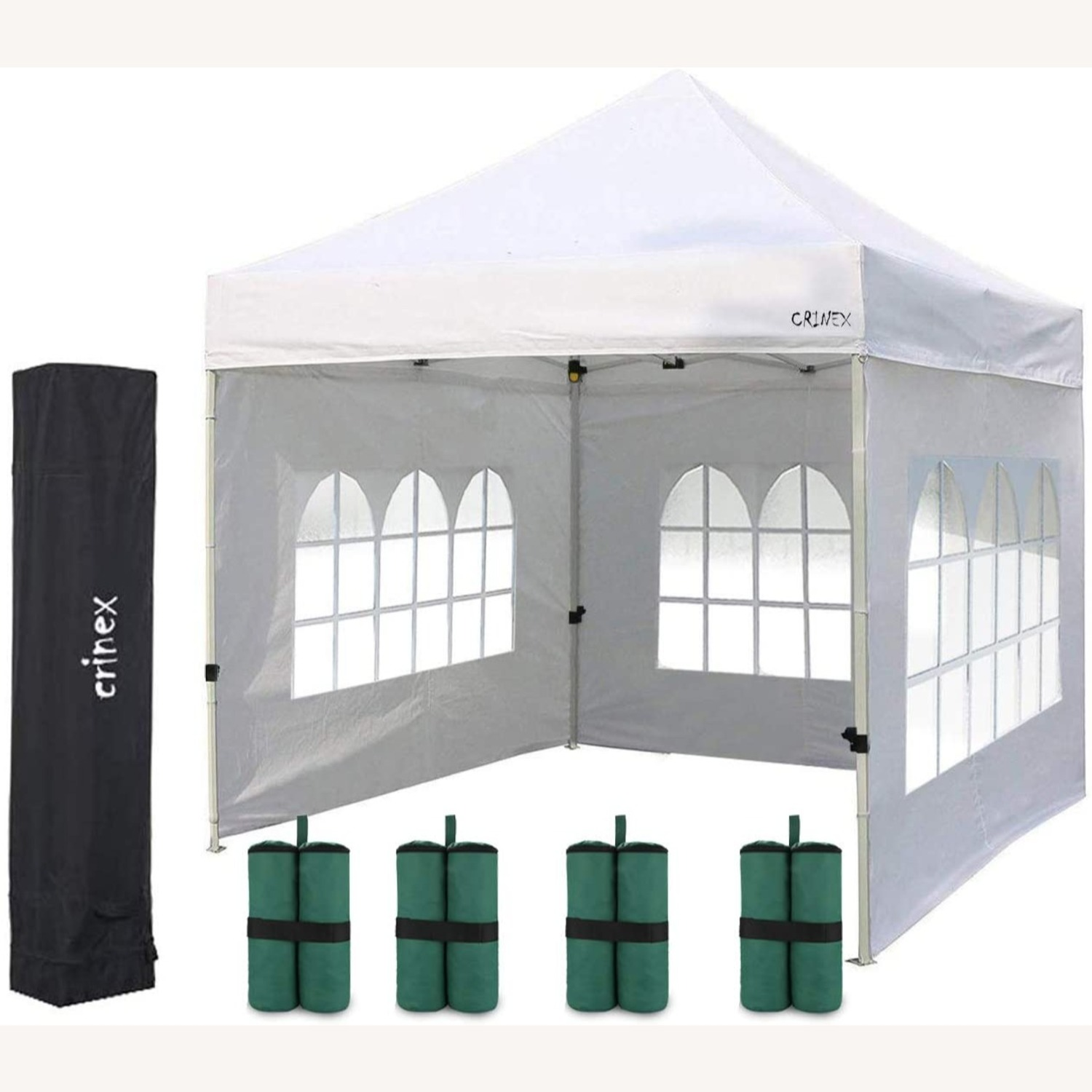White Canopy Tent w Sidewalls & Carry Bag - image-5