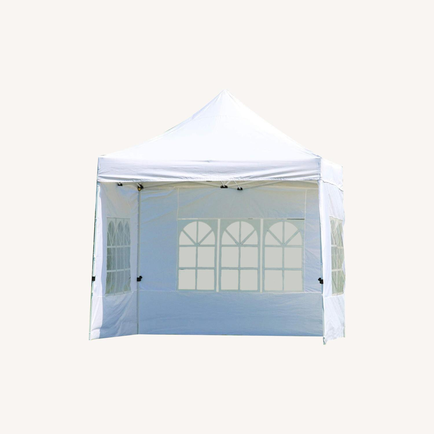 White Canopy Tent w Sidewalls & Carry Bag - image-0