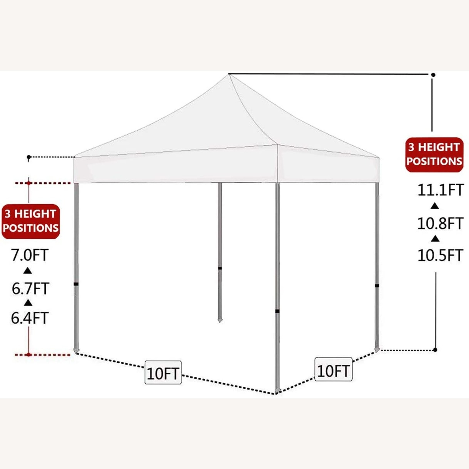 White Canopy Tent w Sidewalls & Carry Bag - image-3