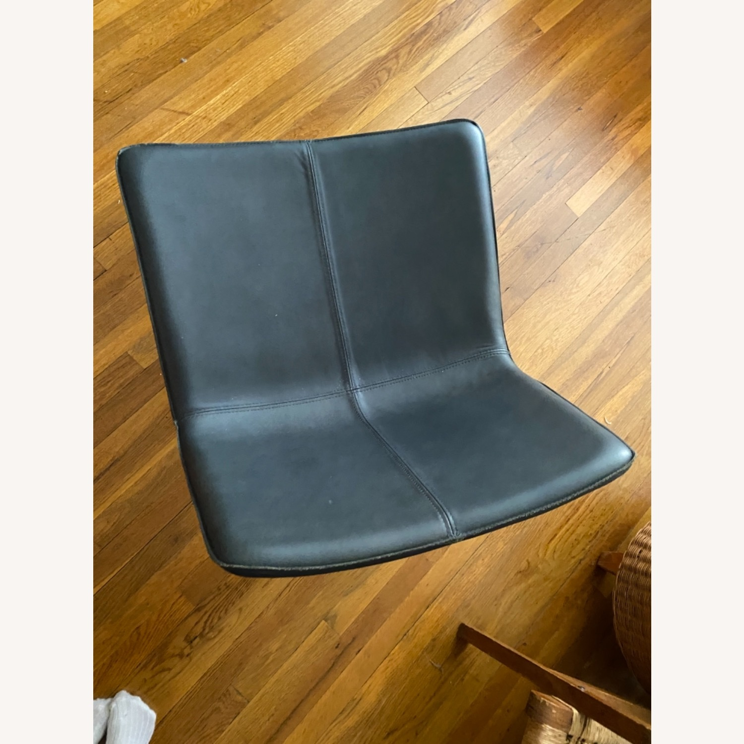 West Elm Leather Rare Navy Slope Leather Chair - image-3