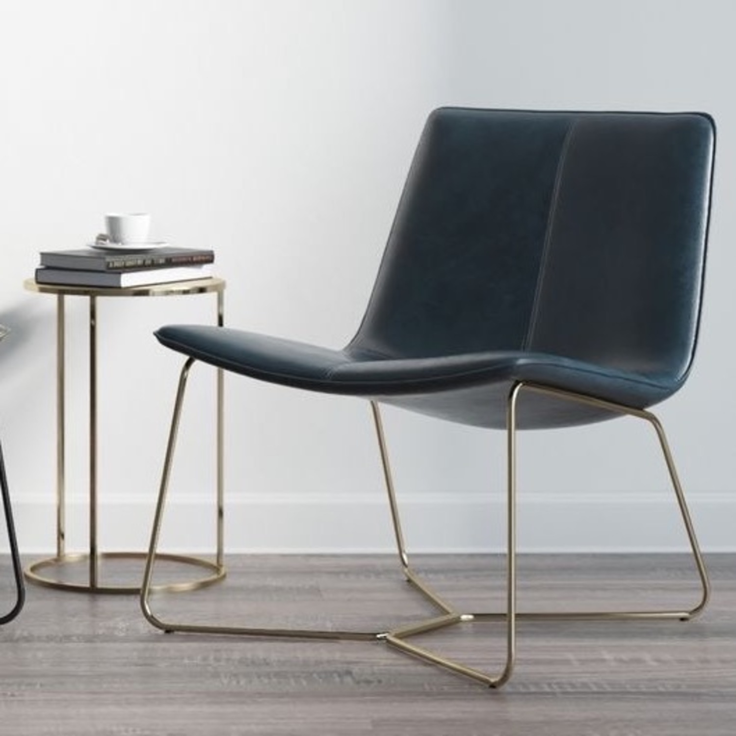 West Elm Leather Rare Navy Slope Leather Chair - image-6