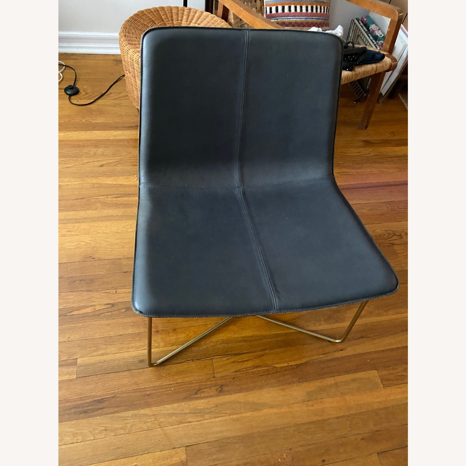 West Elm Leather Rare Navy Slope Leather Chair - image-4