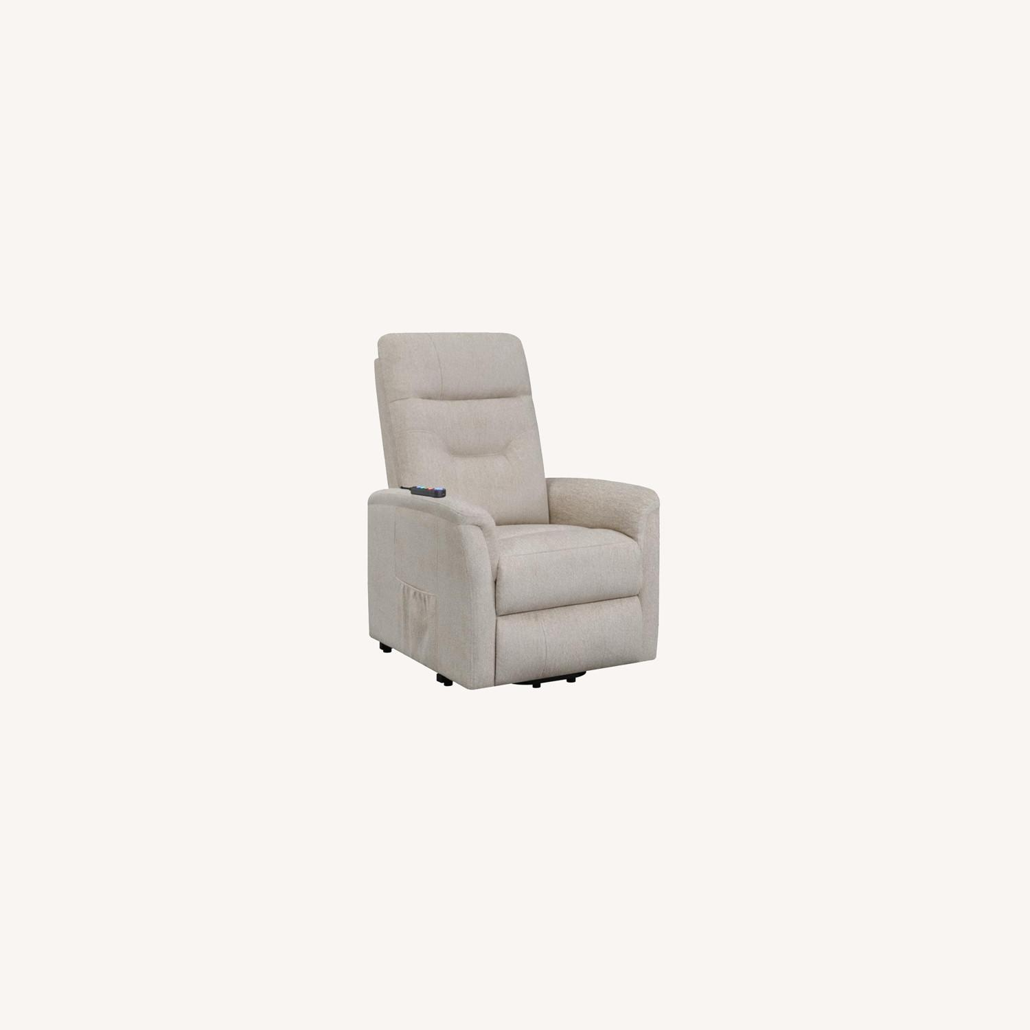 Power Lift Massage Chair In Beige Fabric - image-9
