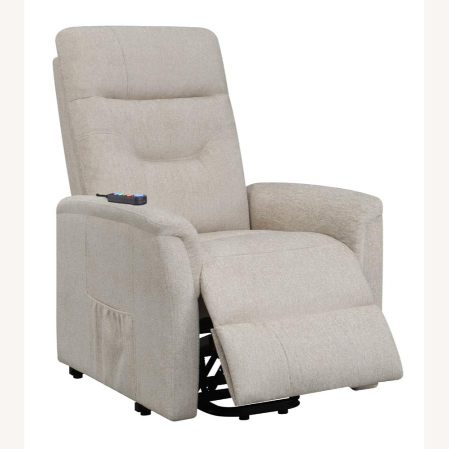 Power Lift Massage Chair In Beige Fabric - image-1