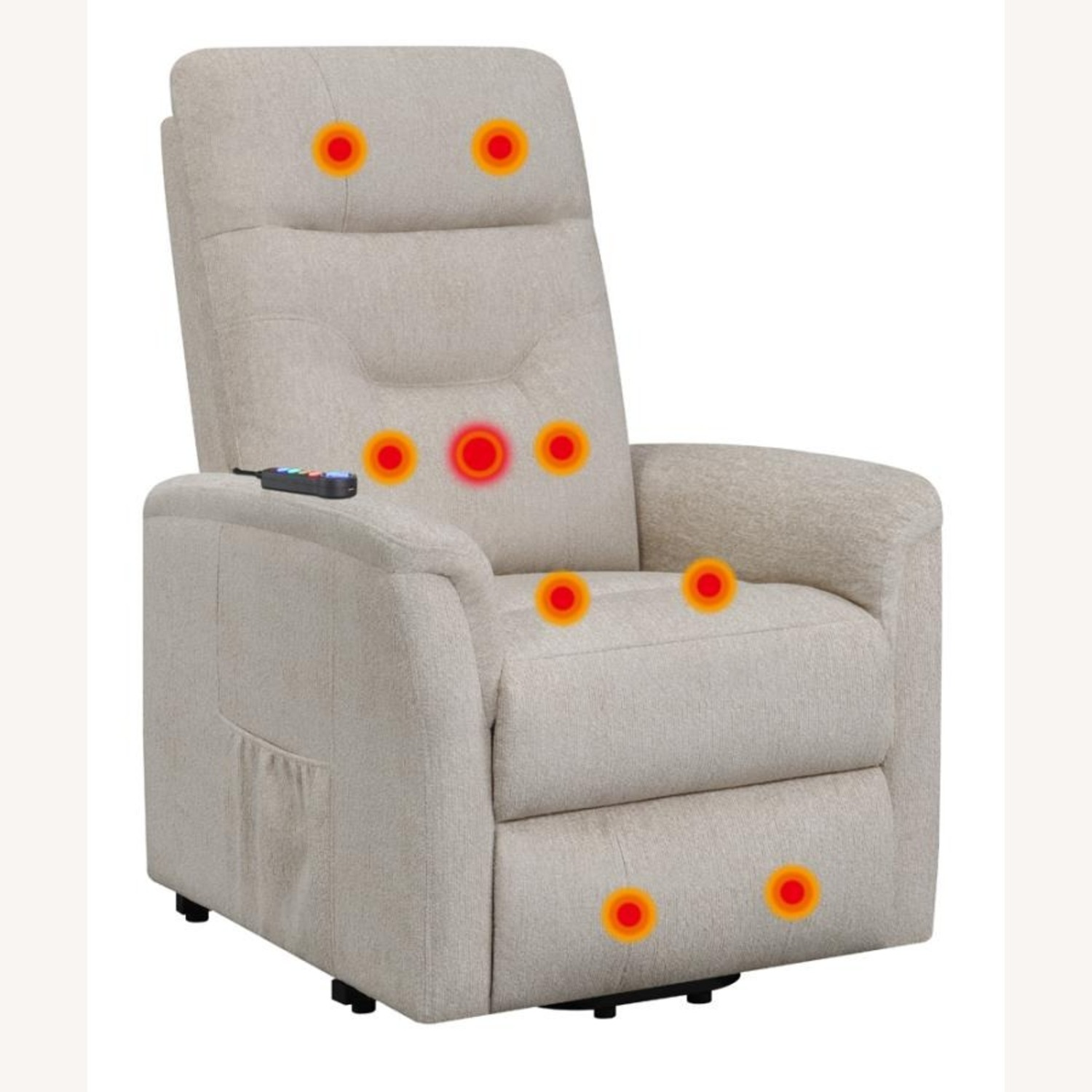 Power Lift Massage Chair In Beige Fabric - image-2
