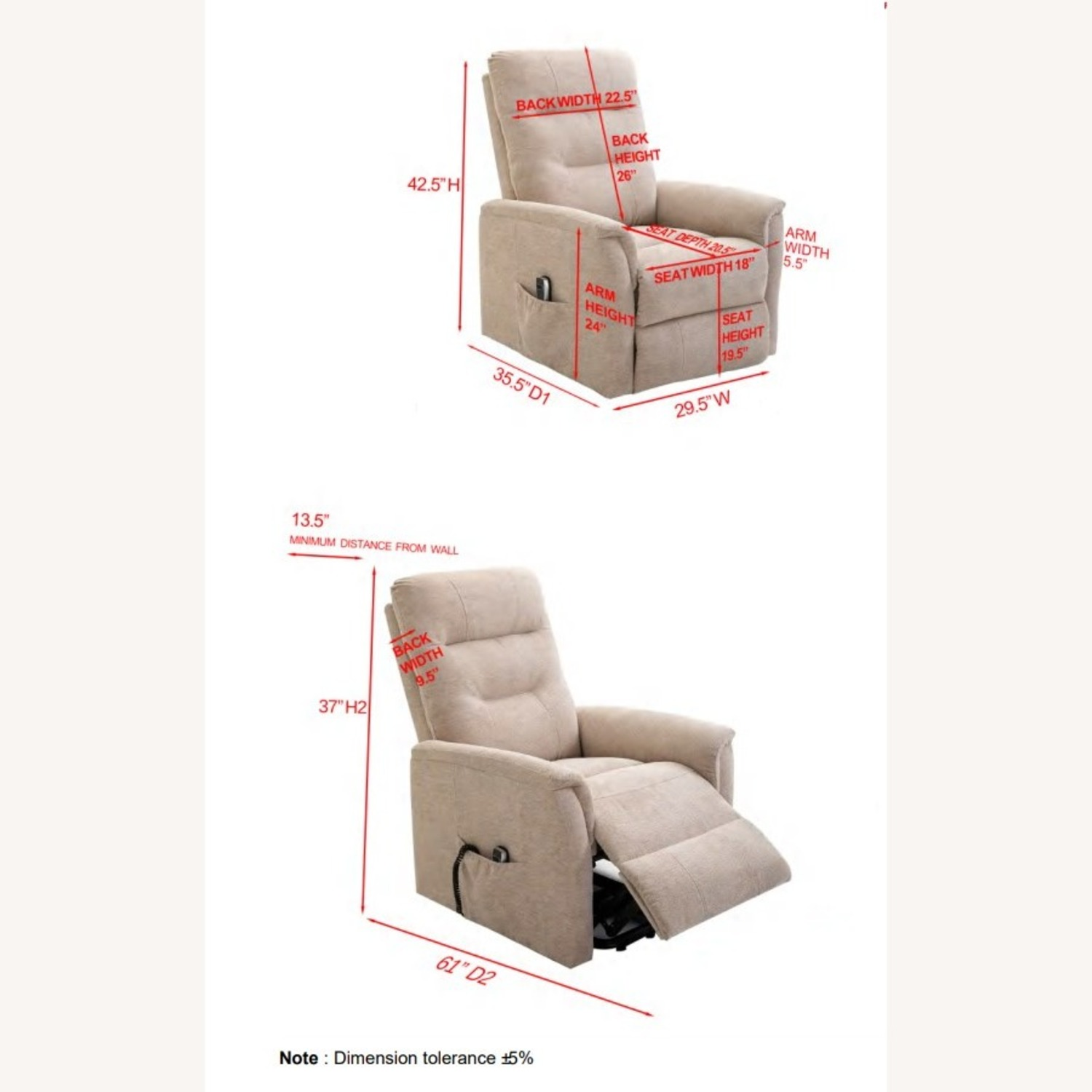 Power Lift Massage Chair In Beige Fabric - image-11