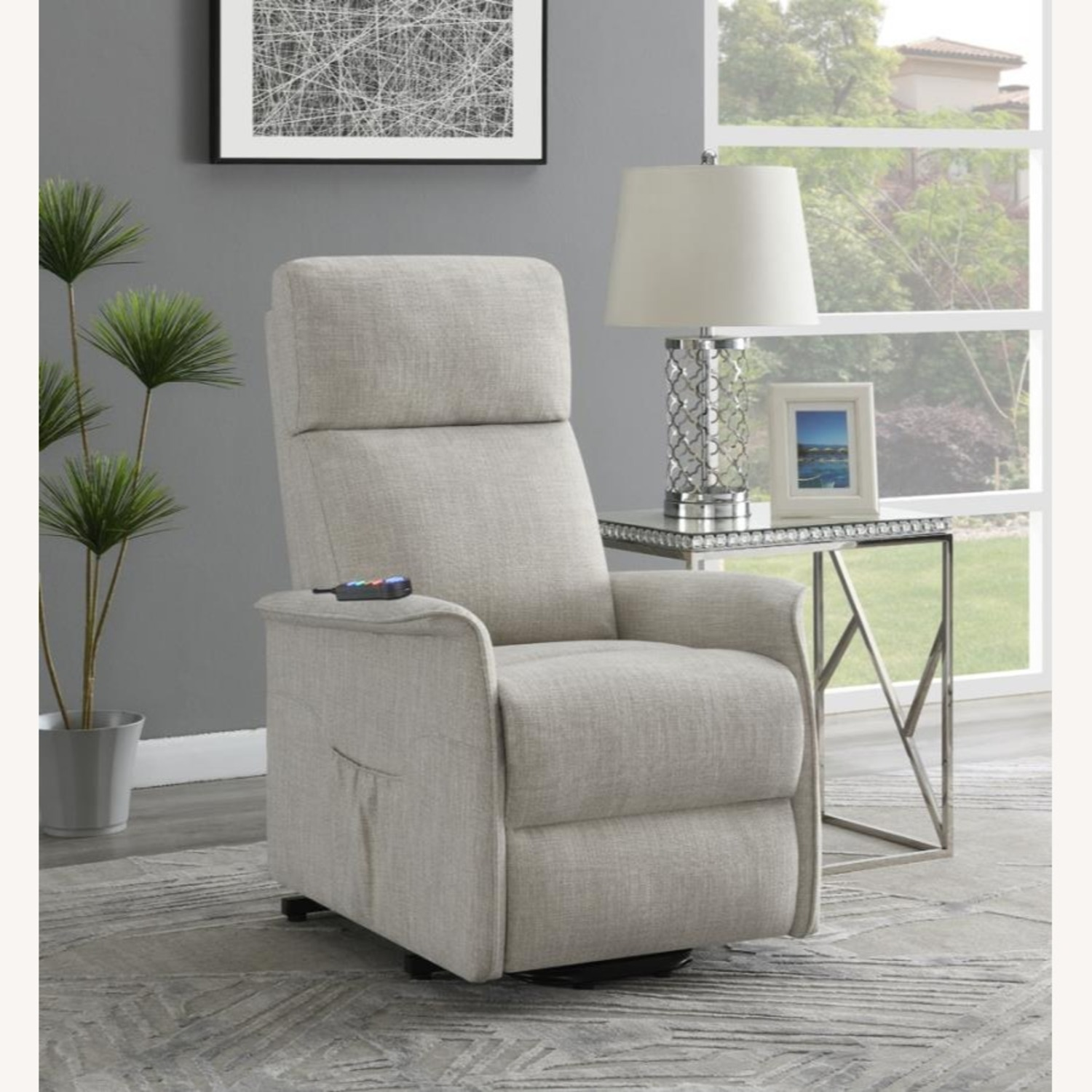 Power Lift Recliner Tufted In Beige Fabric - image-9