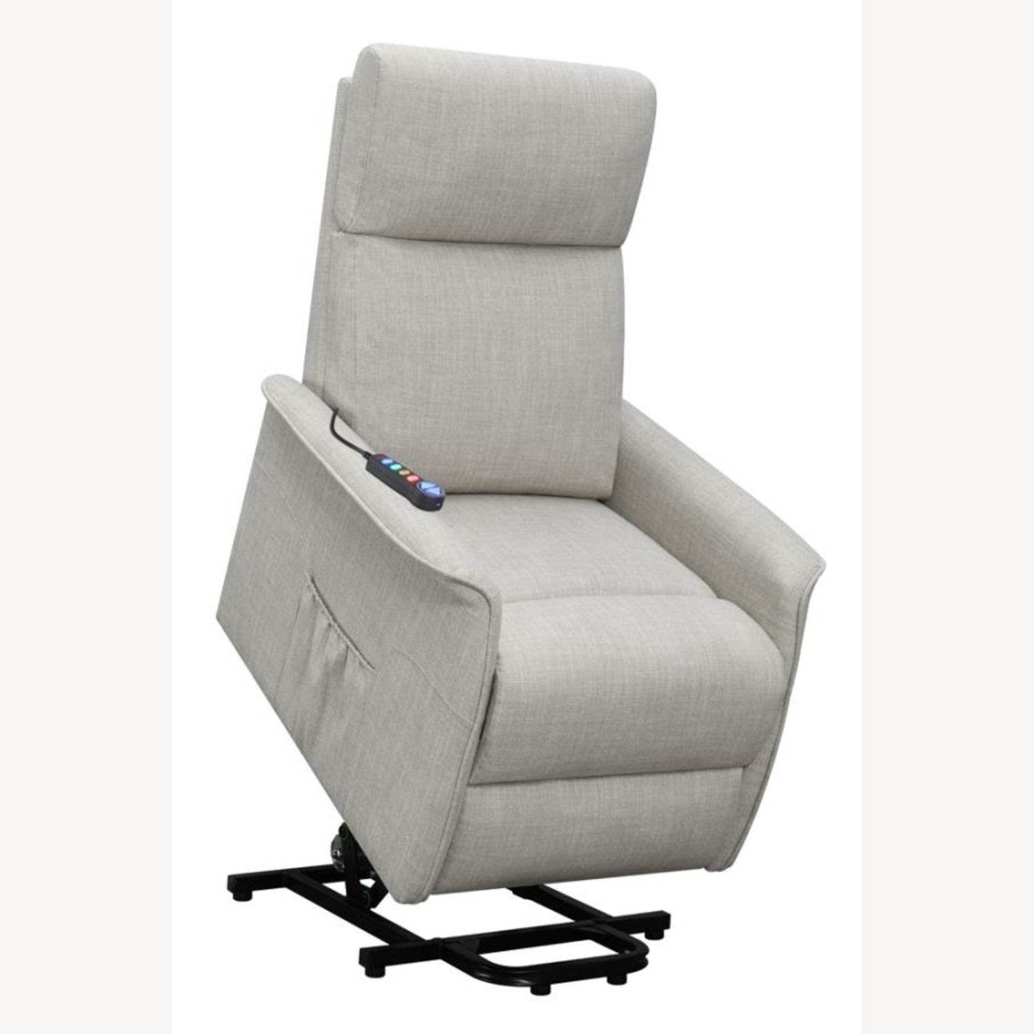 Power Lift Recliner Tufted In Beige Fabric - image-3
