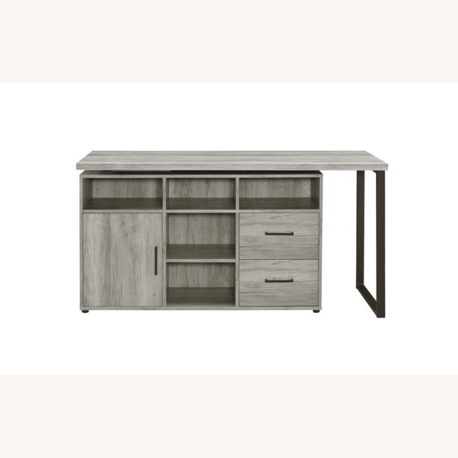 L-Shaped Office Desk In Grey Driftwood Finish - image-5