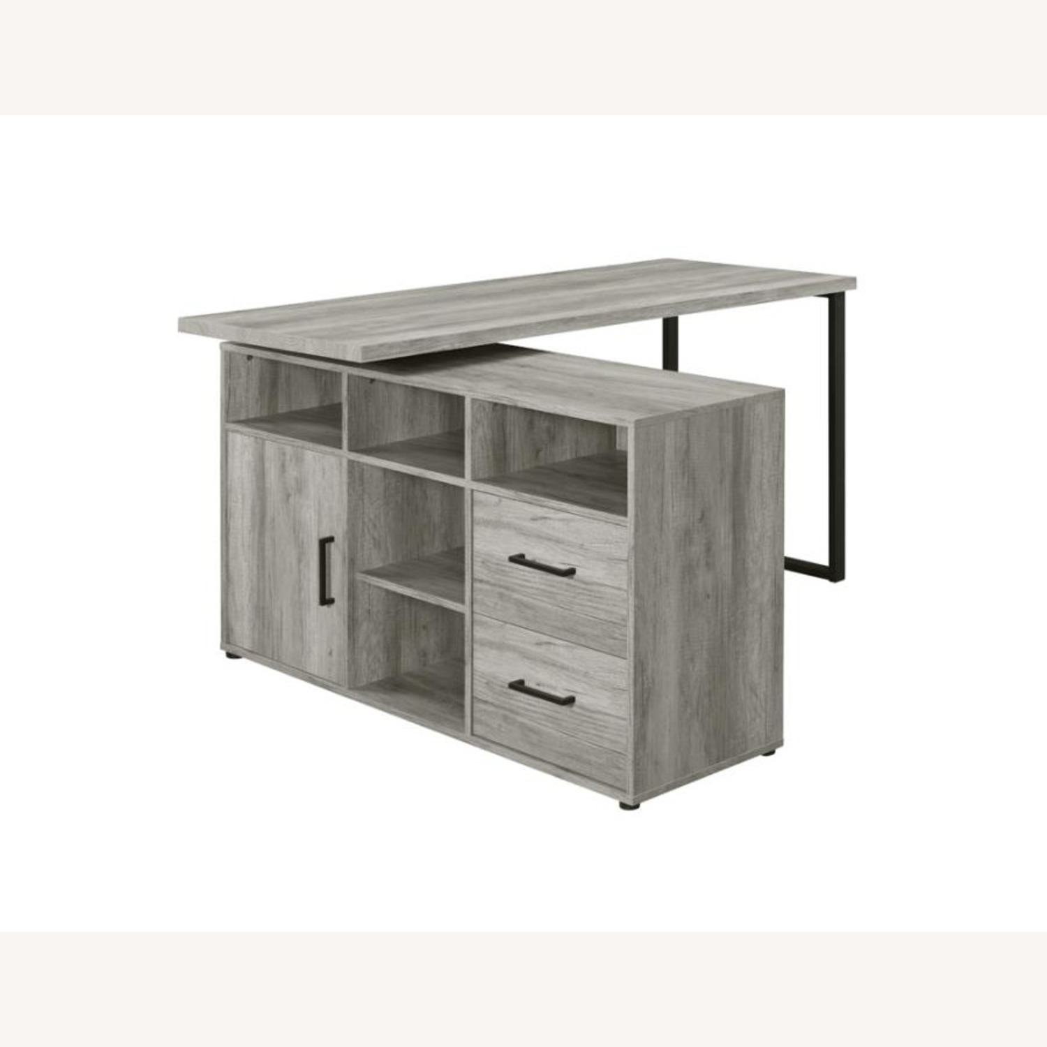 L-Shaped Office Desk In Grey Driftwood Finish - image-1