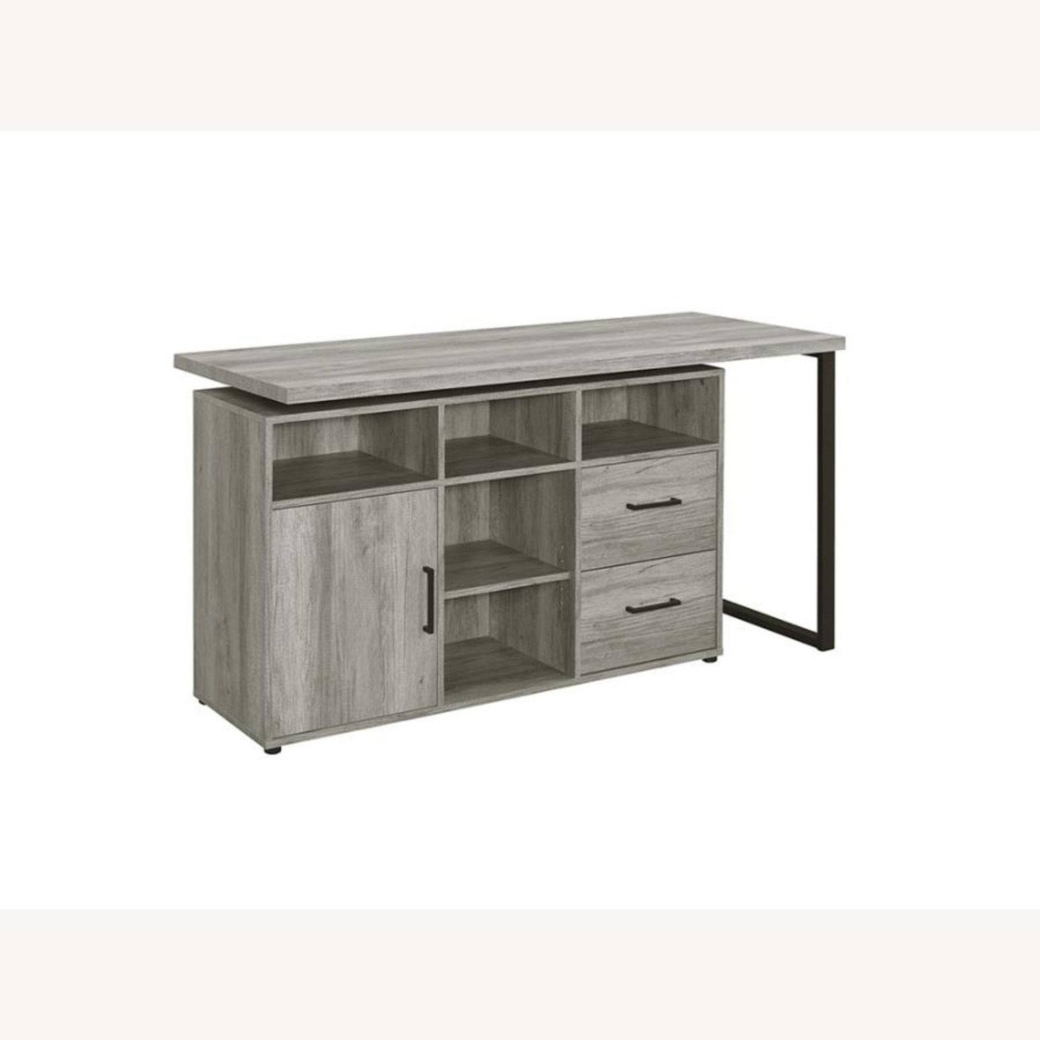 L-Shaped Office Desk In Grey Driftwood Finish - image-2