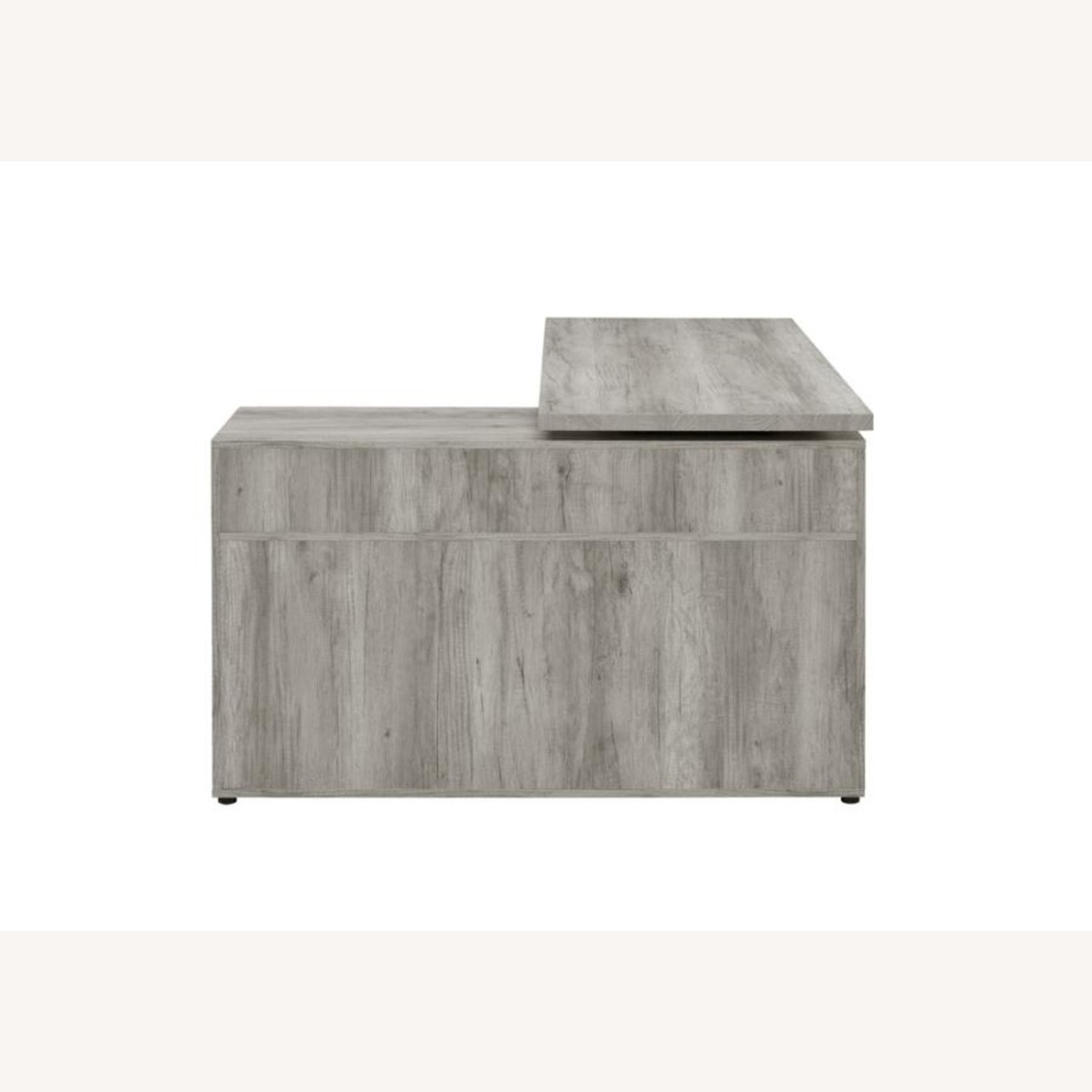 L-Shaped Office Desk In Grey Driftwood Finish - image-6