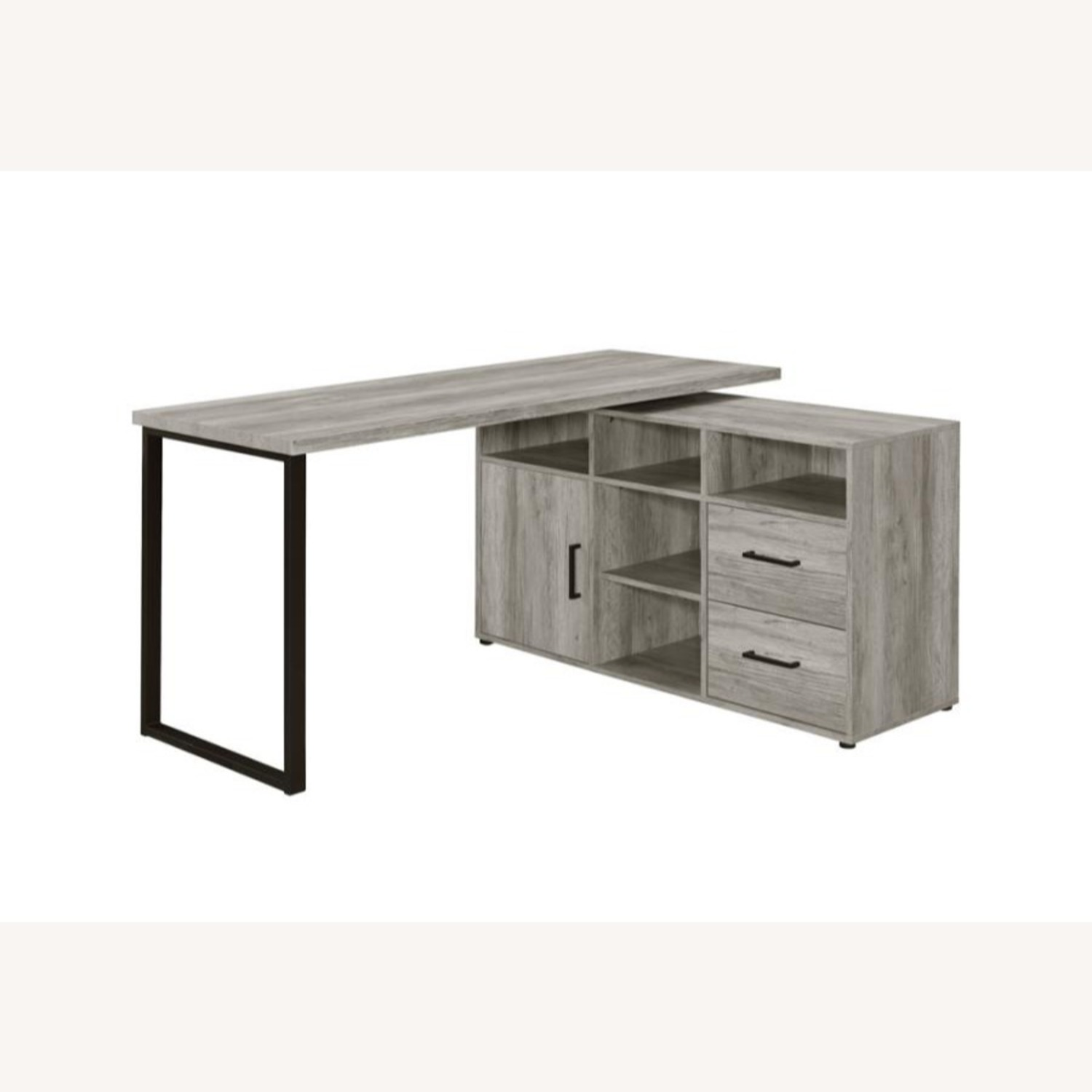 L-Shaped Office Desk In Grey Driftwood Finish - image-0