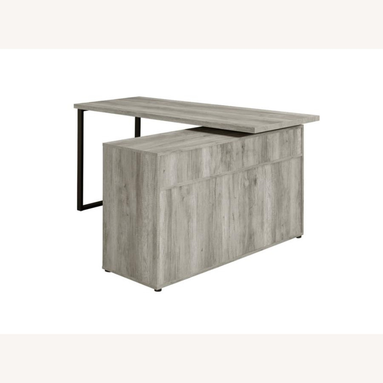 L-Shaped Office Desk In Grey Driftwood Finish - image-7