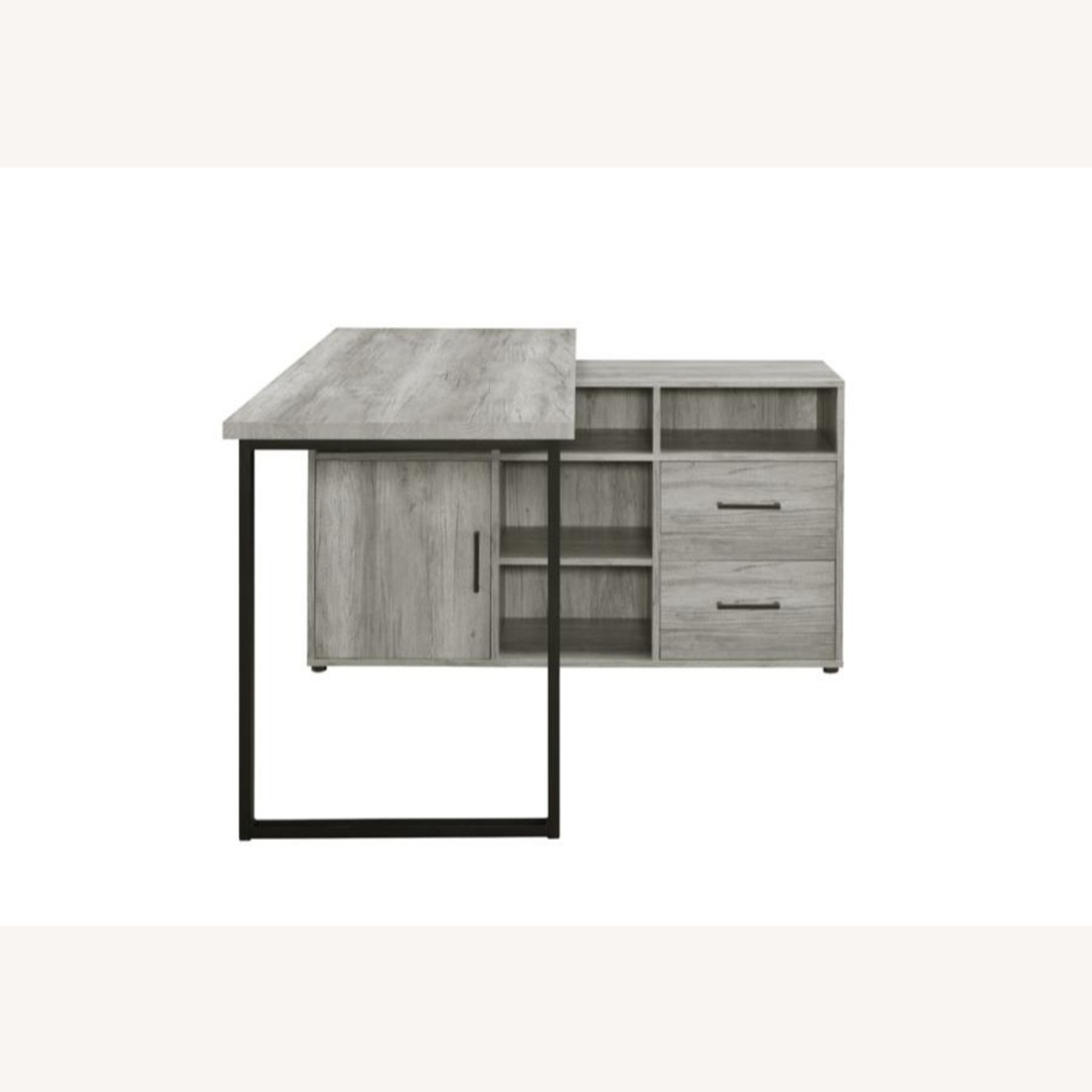L-Shaped Office Desk In Grey Driftwood Finish - image-4