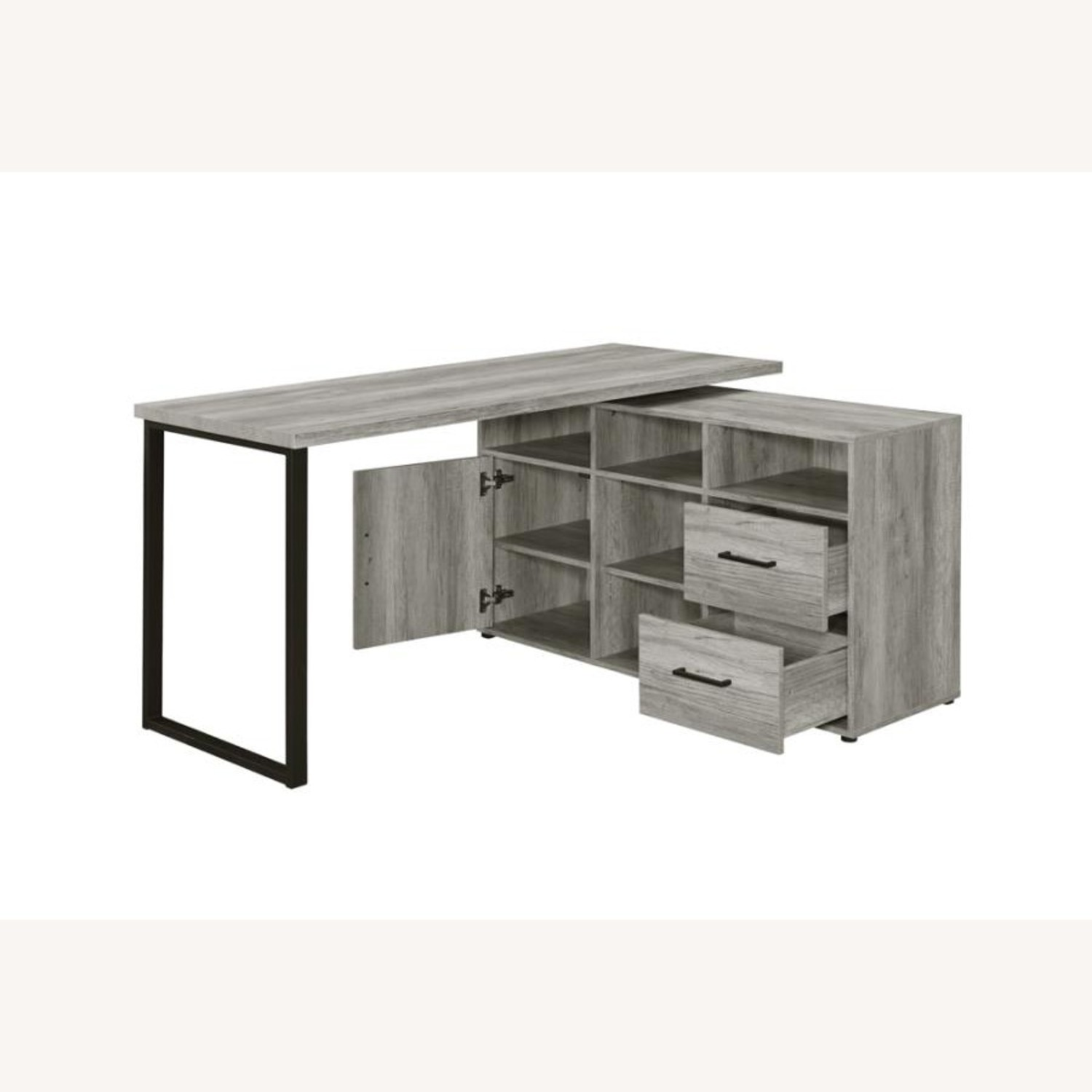 L-Shaped Office Desk In Grey Driftwood Finish - image-3