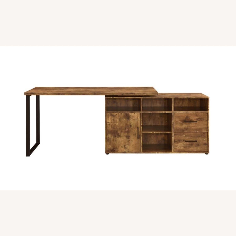 L-Shaped Office Desk In Antique Nutmeg Finish - image-5