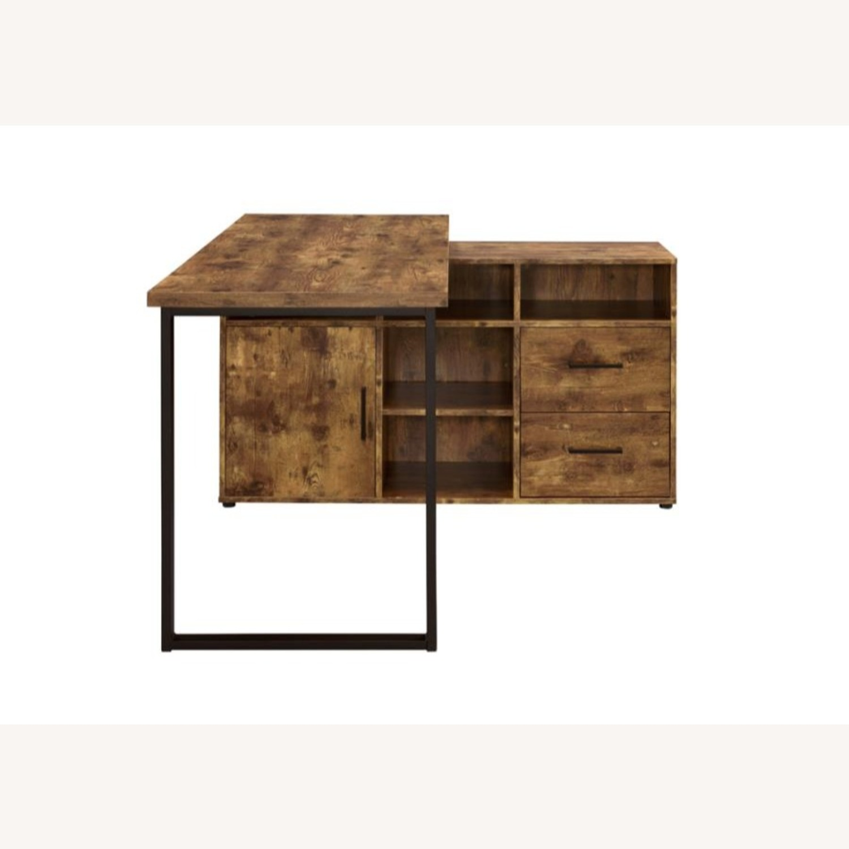 L-Shaped Office Desk In Antique Nutmeg Finish - image-4