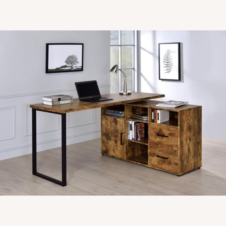 L-Shaped Office Desk In Antique Nutmeg Finish - image-8