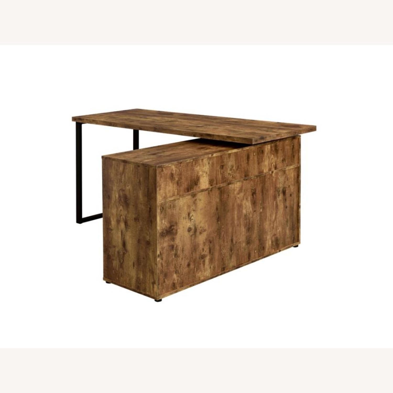L-Shaped Office Desk In Antique Nutmeg Finish - image-7