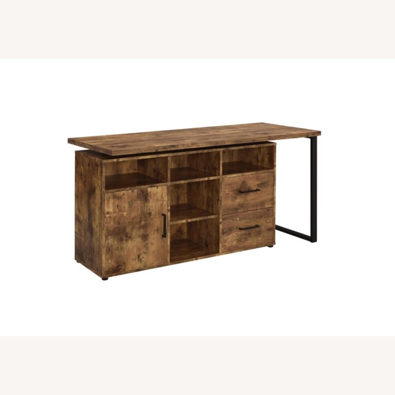 L-Shaped Office Desk In Antique Nutmeg Finish - image-2