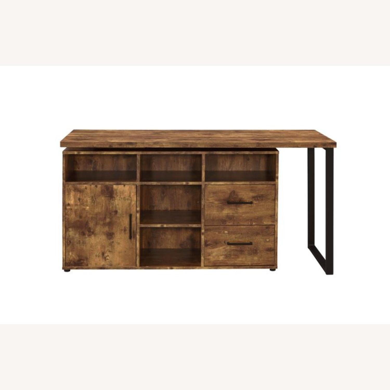 L-Shaped Office Desk In Antique Nutmeg Finish - image-6