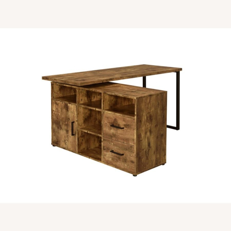 L-Shaped Office Desk In Antique Nutmeg Finish - image-1