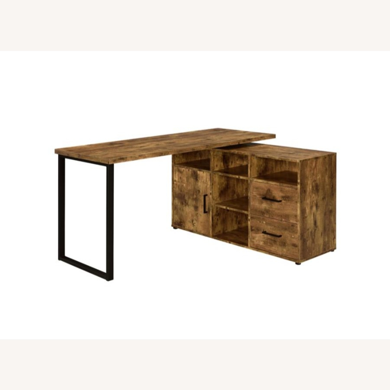 L-Shaped Office Desk In Antique Nutmeg Finish - image-0