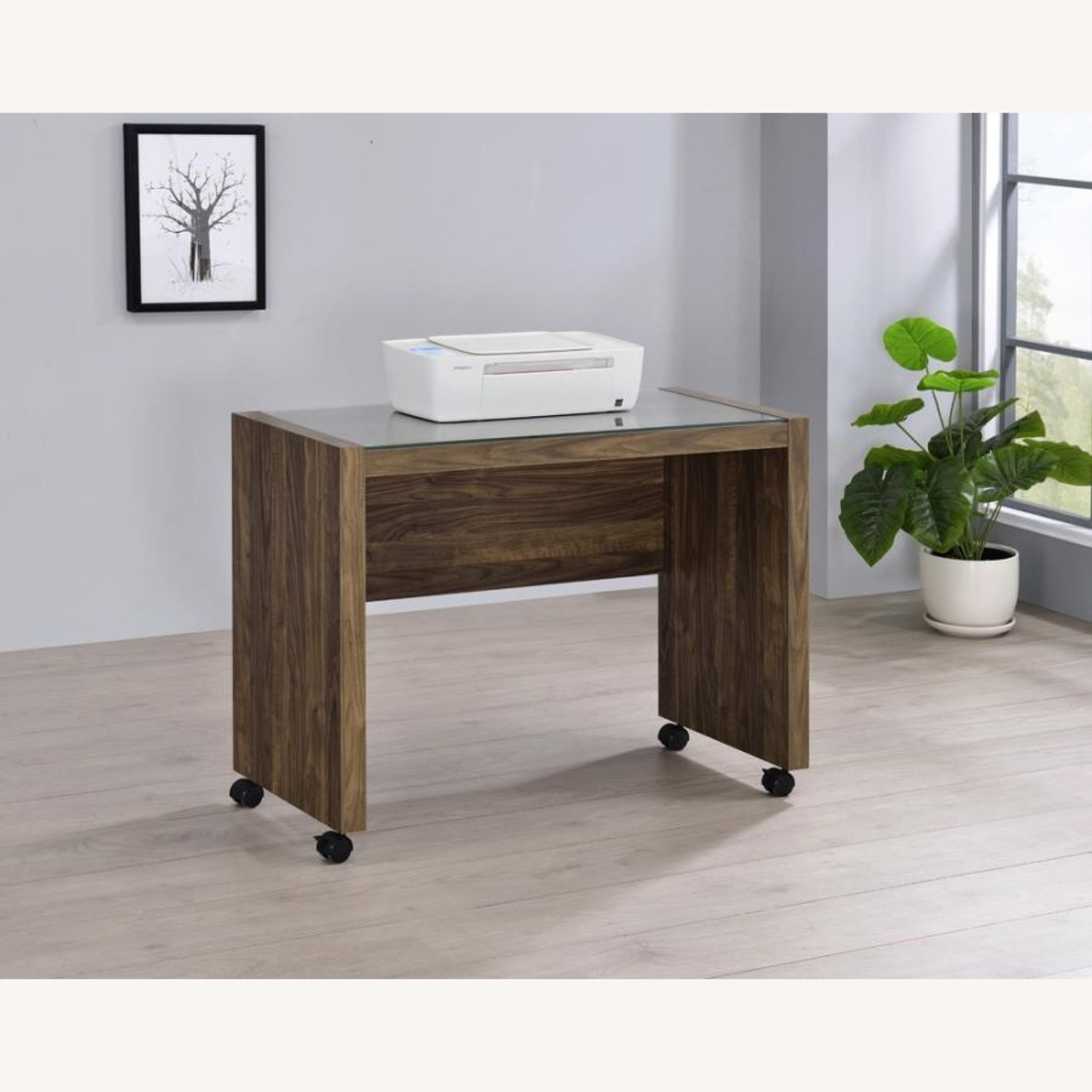 Mobile Return On Casters In Aged Walnut Finish  - image-5
