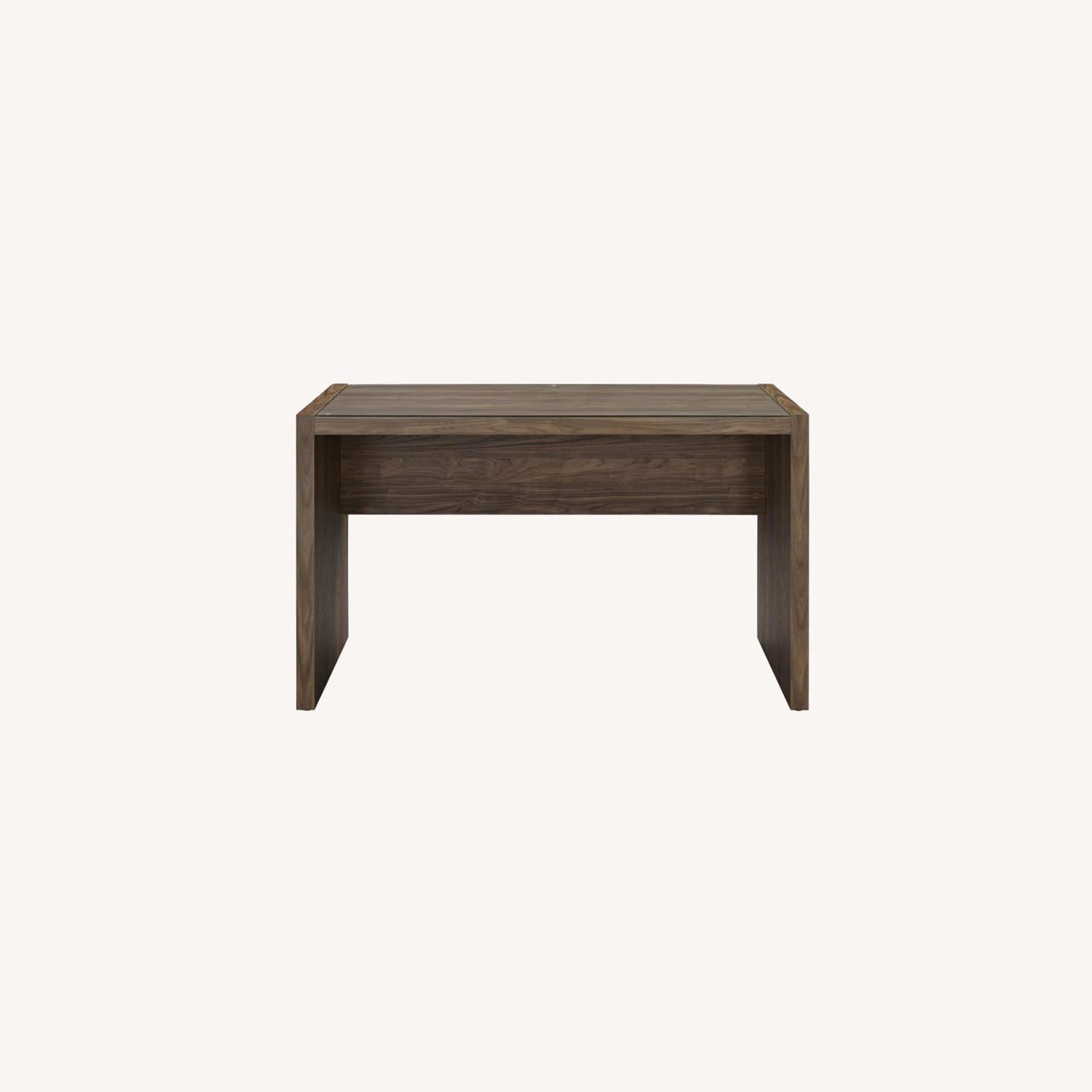 """48"""" Writing Desk In Aged Walnut W/ Tempered Glass - image-7"""