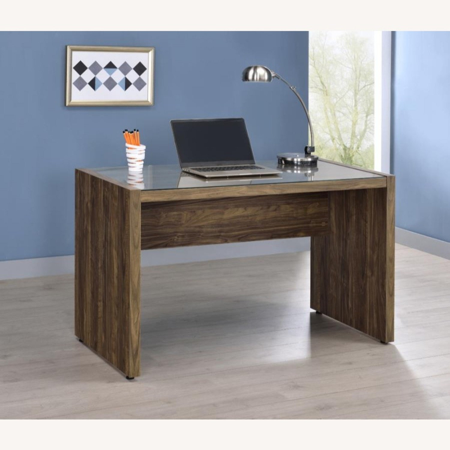 """48"""" Writing Desk In Aged Walnut W/ Tempered Glass - image-5"""