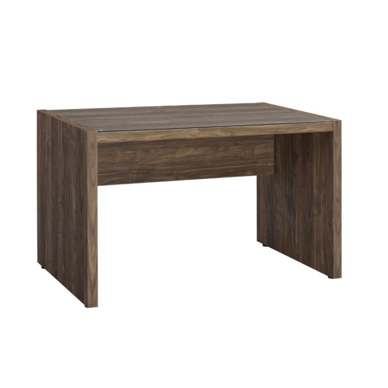 """48"""" Writing Desk In Aged Walnut W/ Tempered Glass - image-0"""
