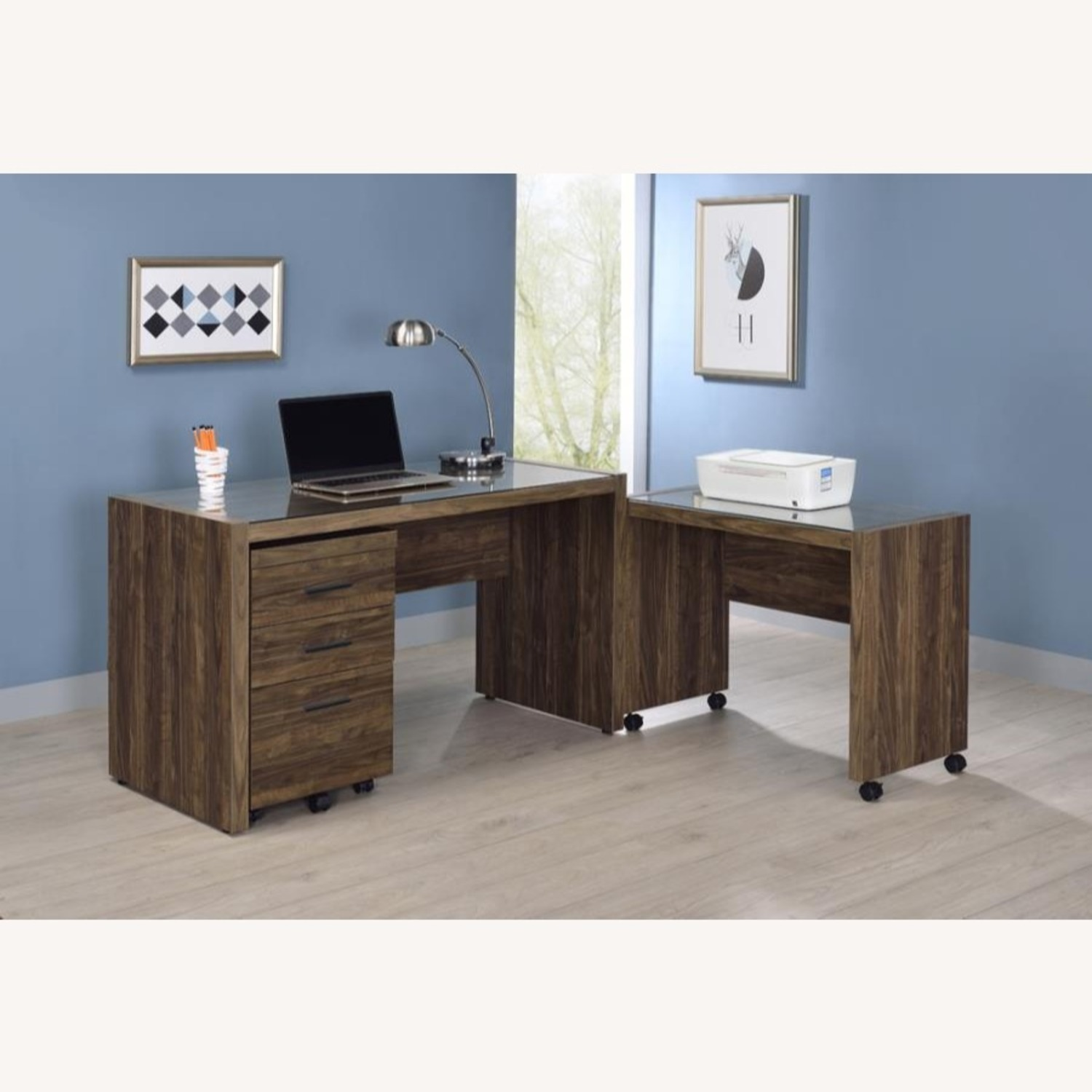 """48"""" Writing Desk In Aged Walnut W/ Tempered Glass - image-6"""