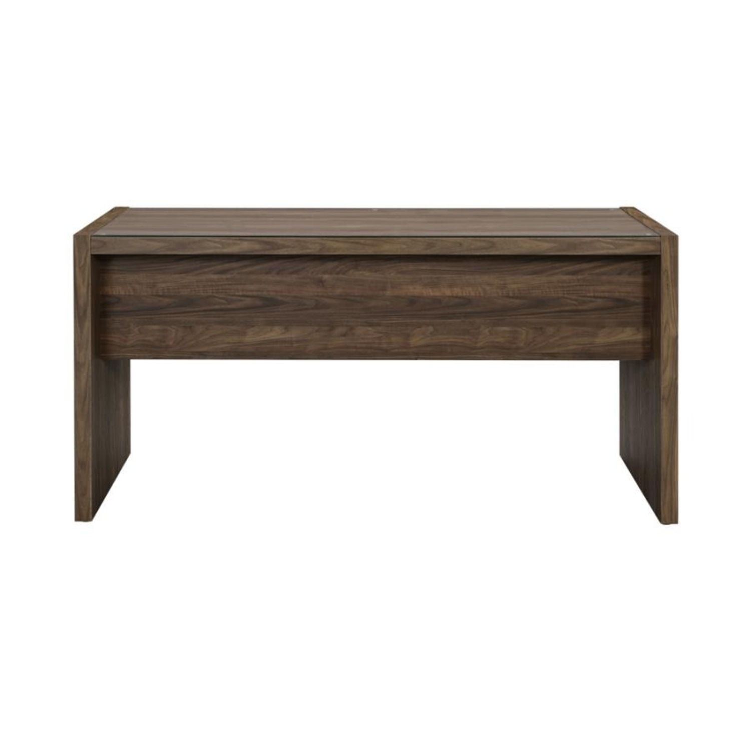 """59"""" Writing Desk In Aged Walnut W/ Tempered Glass - image-3"""